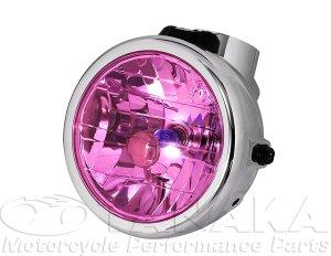 画像1: モンキー用 マルチカットリフレクターヘッドライト メッキ・ピンク