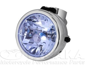 画像1: モンキー用 マルチカットリフレクターヘッドライト メッキ・ブルー